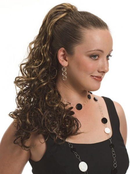 """20"""" Curly Brown Heat Friendly Synthetic Hair Claw Clip Ponytails"""