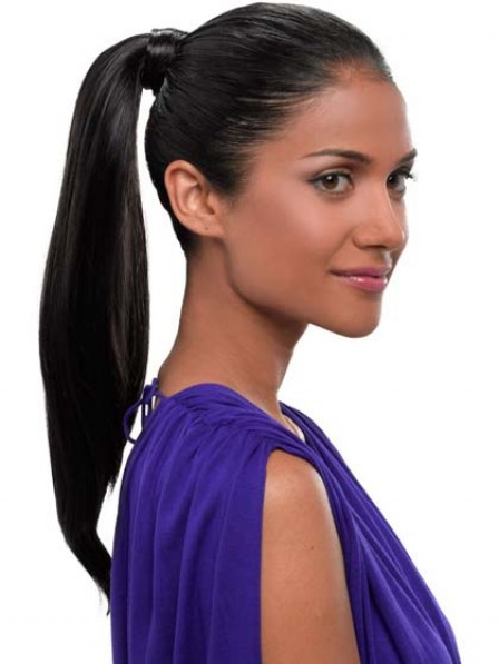 "20"" Straight Black 100% Human Hair Pressure Clips Ponytails"