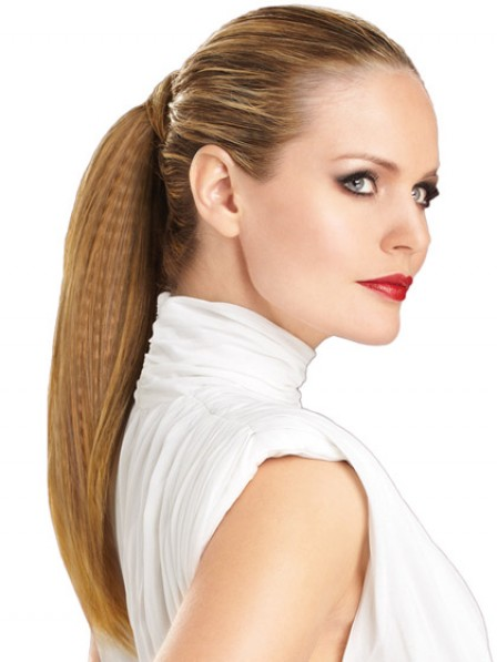 """16"""" Straight Brown 100% Human Hair Pressure Clips Ponytails"""