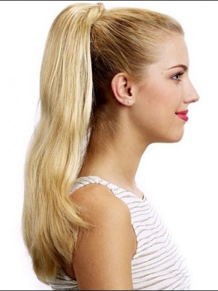 "20"" Straight Blonde 100% Human Hair Pressure Clips Ponytails"