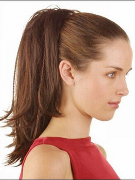 "14"" Straight Brown Human Hair Claw Clip Ponytails"