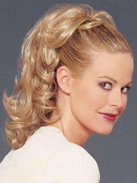 """16"""" Curly Blonde Heat Friendly Synthetic Hair Claw Clip Ponytails"""