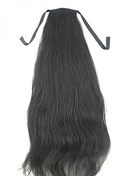 "22"" Straight Black 100% Human Hair Drawstring Ponytails"
