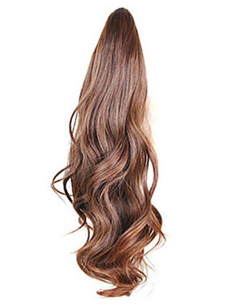 """10"""" Wavy Brown Synthetic Hair Claw Clip Ponytails"""