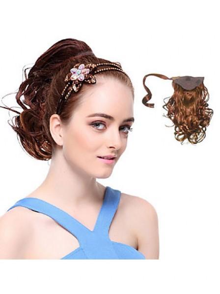 "10"" Wavy Auburn 100% Human Hair Pressure Clips Ponytails"