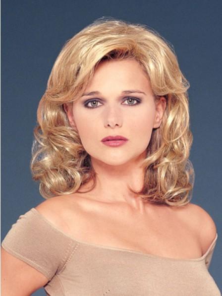 """14"""" Wavy Blonde Human Hair 1/2 Wigs Hair Pieces"""
