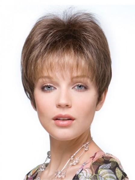"""4"""" Straight Brown 100% Human Hair Mono Hair Pieces"""