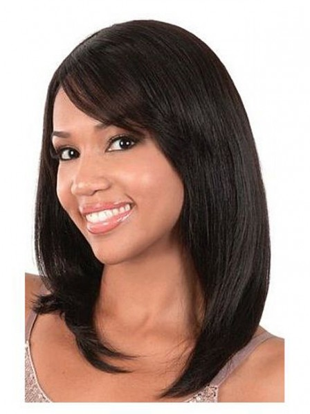 Pretty shag human hair wig with oblique bangs lace front