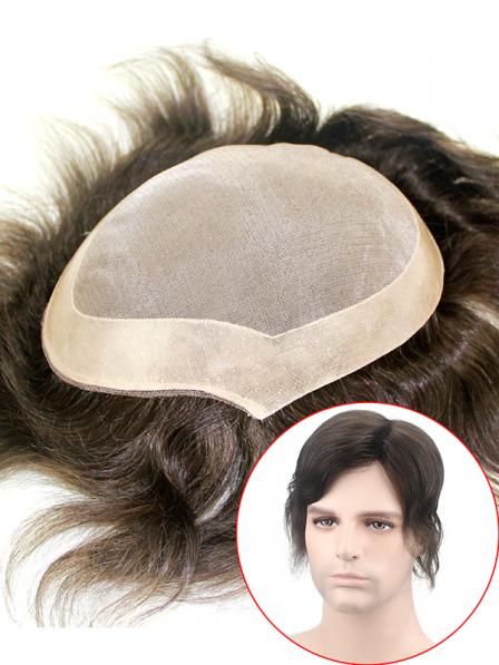 PU Perimeter Fine Mono Mens Human Hair Wigs Hair Systems