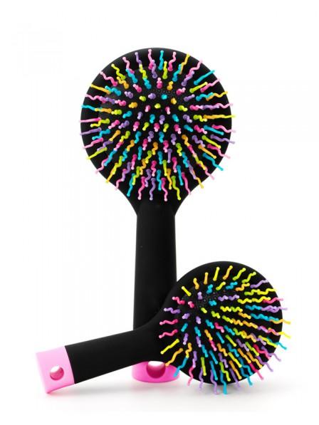 Rainbow Black Brush Perm Wave Straight Beauty Comb with Mirror