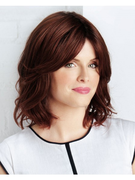 Red Shoulder-length layered style wig with side swept fringe