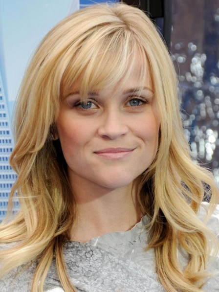 Reese Witherspoon Long Human Hair Wig with Bangs