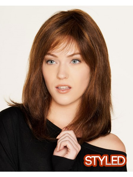 Remy Mono Long Human Hair Brown Wig