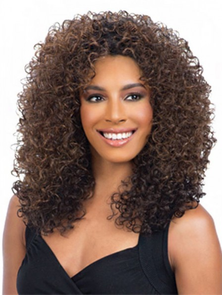 Retro curly capless synthetic brown hair wigs for black women