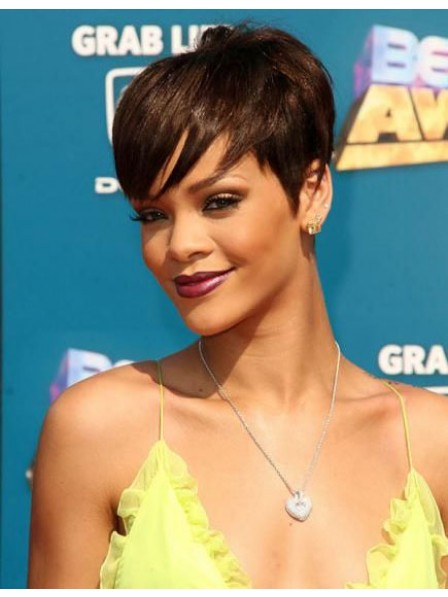 Rihanna short pixie brown hair wigs capless