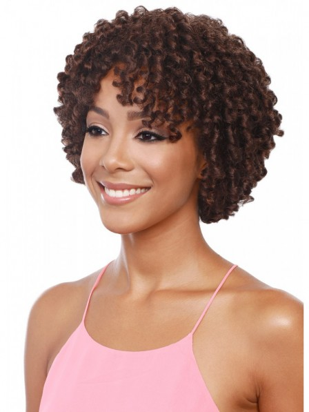 Short Capless Brown Curly Afro Hairstyle For Black Women