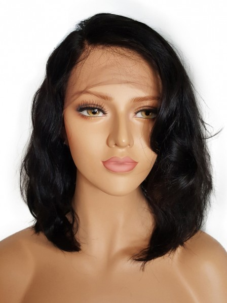 Short Glueless Lace Front Human Hair Wigs With Baby Hair Brazilian Non Remy Wavy Bob Wigs