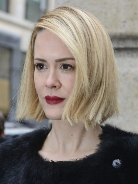 Short Hairstyles Sarah Paulson Blunt Bob Capless Synthetic Wigs