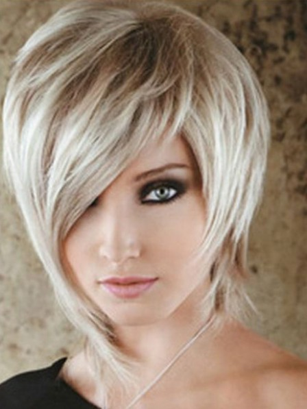 Short Lace Front Mono Top Synthetic Celebrity Grey Wigs