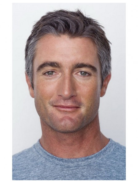 Short Men's Capless Grey Hair Wigs