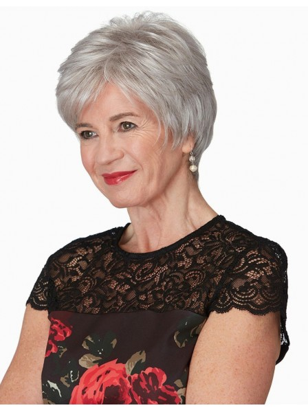 Short Pixie Cut Grey Wig For Older Ladies Rewigs Co Uk