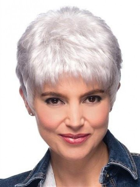 Short Pixie Silver Grey Hair Wig