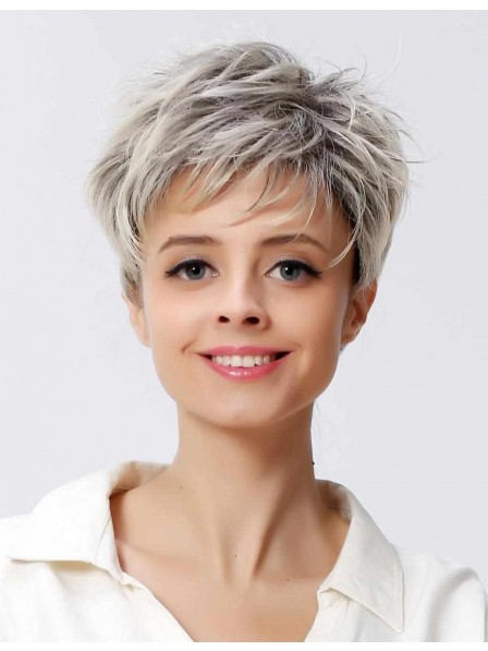 e8ce96720048cc Short Straight Ladies Grey Hair Wig With Pixie Cut - Rewigs.co.uk