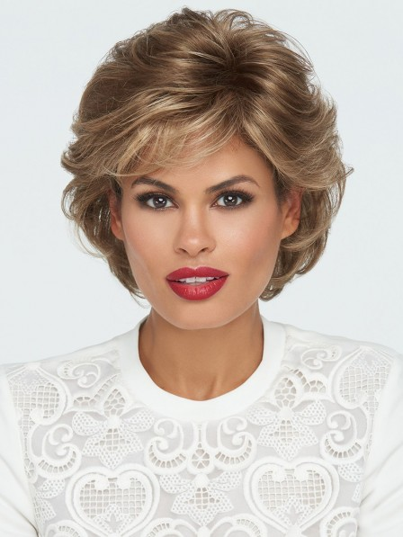 Short Textured Wavy Wig with Bangs