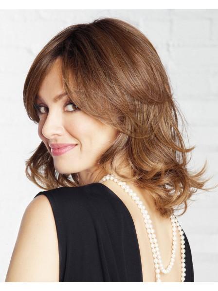 Shoulder-length layered style wig with side swept fringe