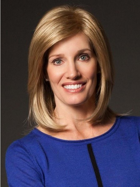 Shoulder Length Straight Blonde Wig with Side-Swept Textured Bangs