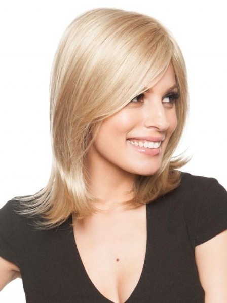Shoulder Length Straight Wig with Side-Swept Textured Bangs