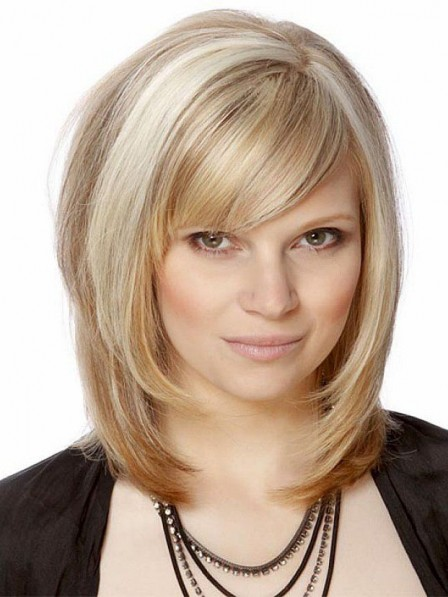 Shoulder Length Synthetic Blonde Bob Wigs Full Lace