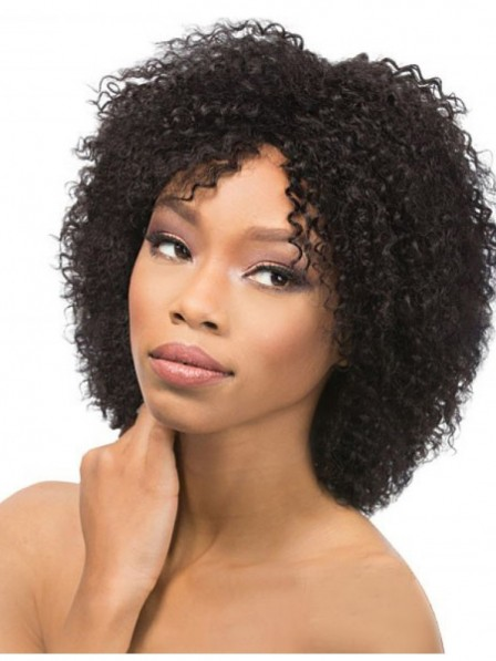 Small curly black capless hair wigs