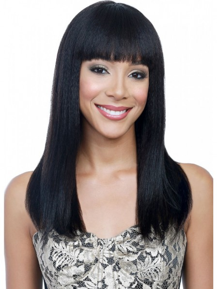 Soft human hair wigs Straight full lace with bangs