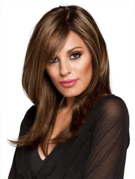 Strikingly Natural-looking Brown Long Straight Wig