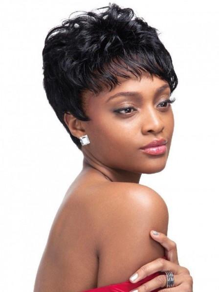 Stylish black women pixie wavy capless hair wig