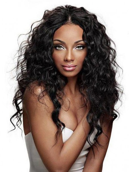 Stylish deep wavy shag hair lace front wigs for black women