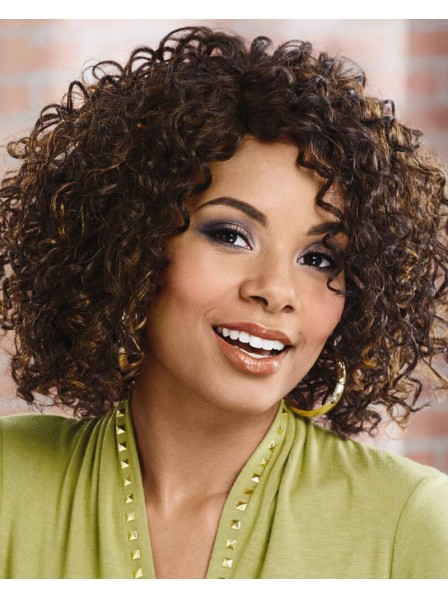 Stylish Mid-Length Wig With Rich Layers Of Curls And A Monofilament Part