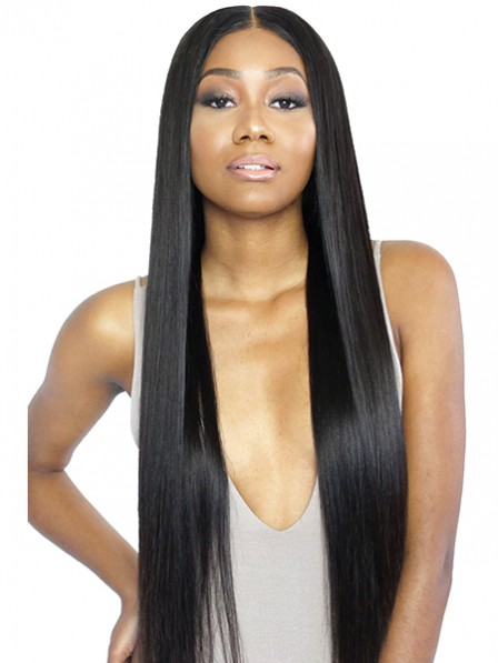 Super long soft silky straight hair middle part wigs
