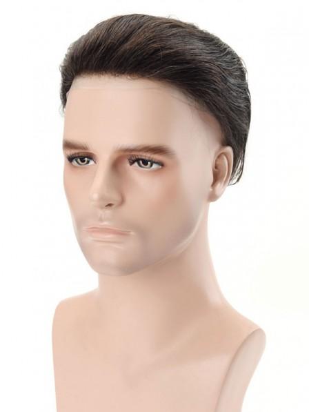 Super Thin Skin Medium Density Mono 100% Human Hair Wig for Men