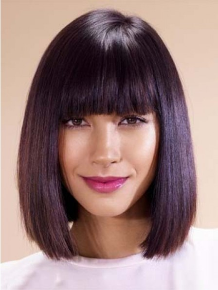 Bob Smooth Hairstyles Wigs With Full Bangs