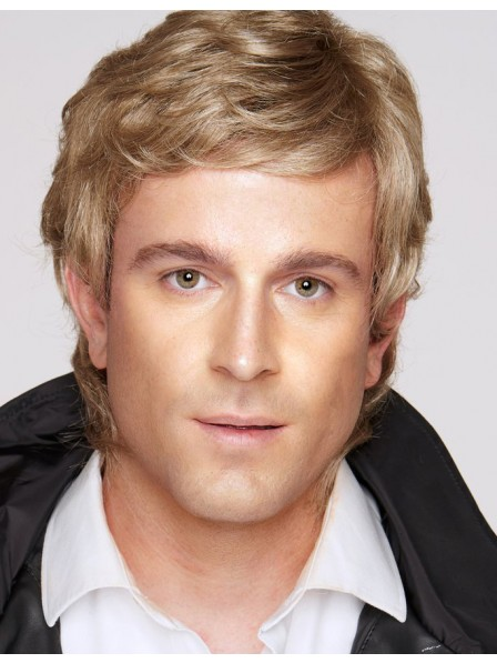 Synthetic Capless Mens Hair Wig With Bangs