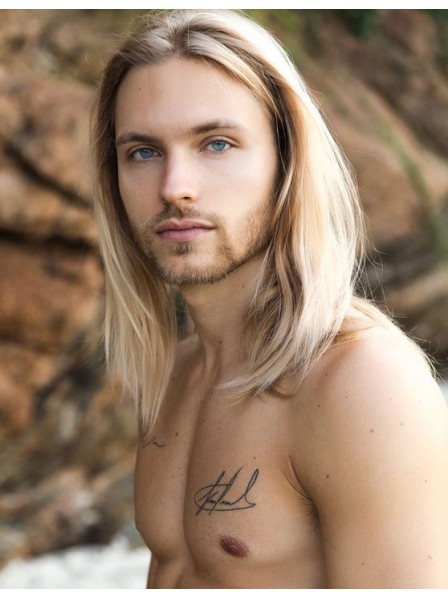 Synthetic Full Lace Straight Long Hair Wigs For Men