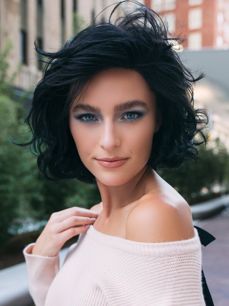 Synthetic Lace Front Bob Wavy Wig