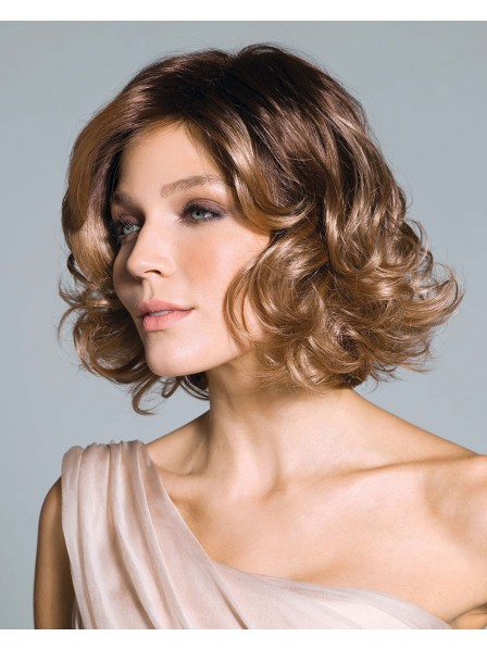 Synthetic Shaggy bob Style wig with curls