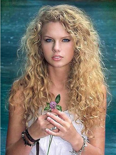 Taylor Swift Long Natural Blonde Curly Synthetic Capless Hair Wig