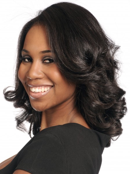 Textured deep wavy black human hair lace front wigs