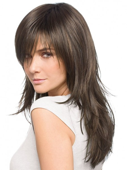 Layered Long Straight Cut Wig With Bangs
