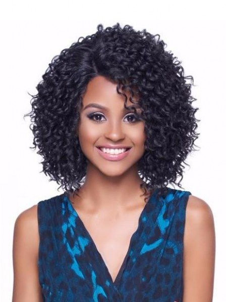 Women's capless curly synthetic hair wigs without bangs