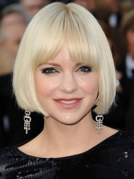Women's Full Lace Chin Length Straight Bob Wigs With Bangs